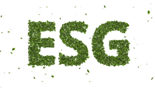 abstract 3D leaves forming ESG text symbol on white background, creative eco environment investment fund, 2021 future green energy innovation business trend