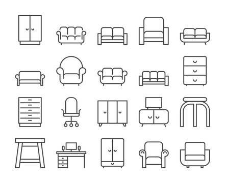 Furniture icon. Home interior line icons set. Vector illustration. Editable stroke.
