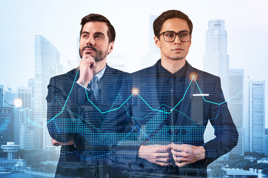 Two entrepreneurs in suits pondering about new venture capital and hi-tech start up and try to forecast risks and estimate prospective earnings growth. Hologram chart on Singapore background.