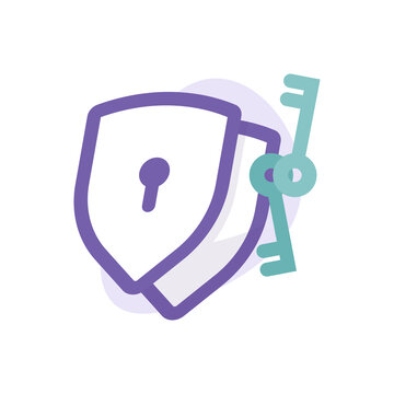 a concept of dual protection or security icon, two authentication. illustration of a shield, key, and keyhole symbol. flat style. vector design element