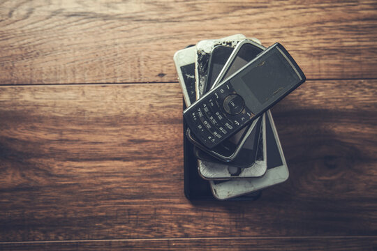 old mobile phones on a table