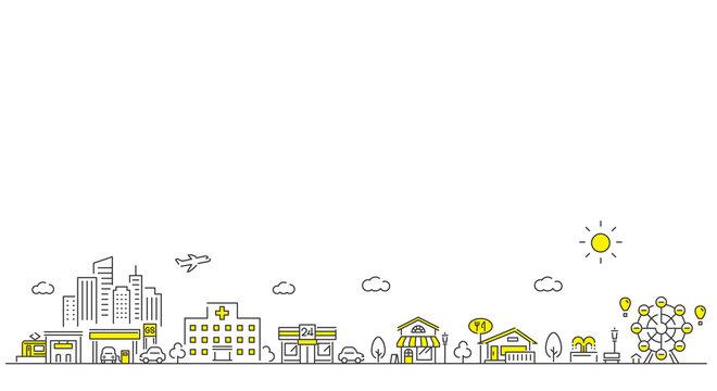 ベクターイラスト素材:線画の街、建物、背景、シンプル