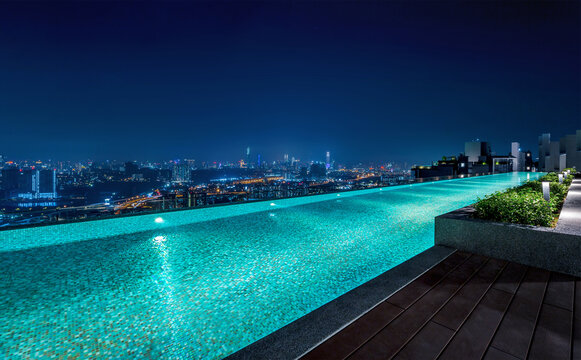 Kuala Lumpur. The City Of Malaysia. 13 November 2020. Luxury Condo at Desa Petaling.  Skylounge infinity pool on rooftop with beutiful cityscape night view.