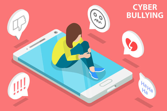 3D Isometric Flat Vector Conceptual Illustration of Cyber Bullying, Online Abuse and Harassment.