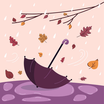 Autumn rainy weather with umbrella in a puddle and different falling leaves. Vector illustration for greeting cards, postcards and t-shirt design.