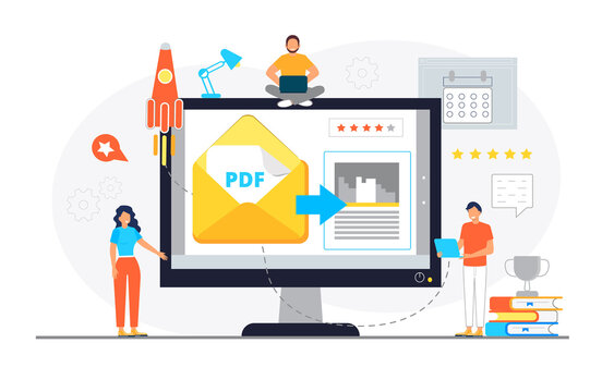 PDF converter from jpeg, word document concept. Screen with changing or converting process of document to another format. Flat vector illustration for app, website, banner
