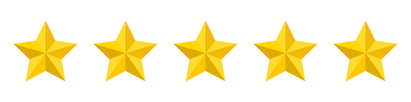 Five stars customer product rating. Vector illustration. Premium quality.