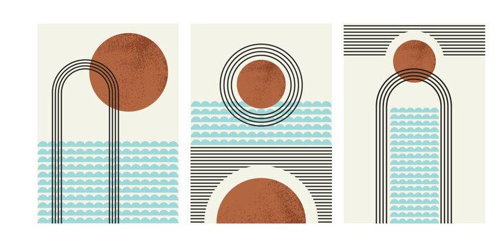 Abstract summer day wall art, modern minimal sea sun stripe design, mid-century circle pattern illustration