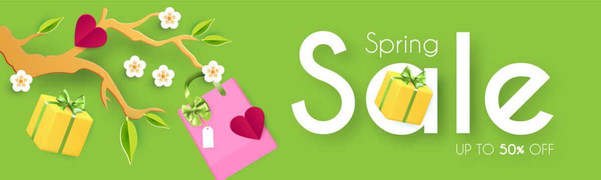 Spring Sale poster template. Seasom offer design with blooming branch, gift box and bags. Paper cut poster