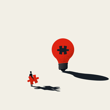 Business creativity vector concept. Finishing lightbulb with jigsaw puzzle. Symbol of inspiration, creative thinking.