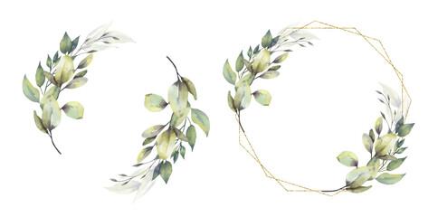 Fototapeta Watercolor floral illustration set - green leaf Frame collection, for wedding stationary, greetings, wallpapers, fashion, background. Eucalyptus, olive, green leaves, etc. High quality illustration obraz