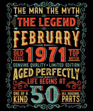 The Man The Myth The Legend 50th birthday t-shirt design