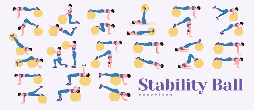 Swiss ball or Fitness Ball workout set. Young woman doing Stability ball exercises. Vector illustration.