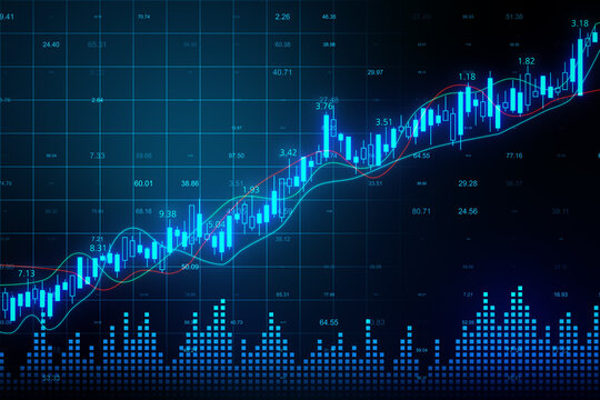 Business graph and candlestick charts interface.