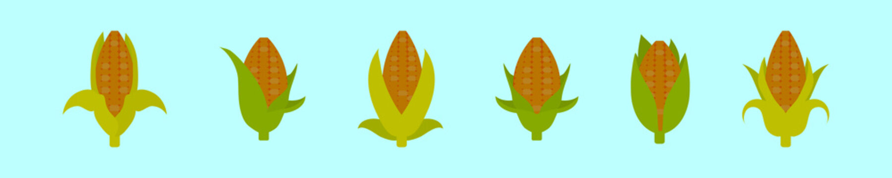 ear of corn cartoon icon design template with various models. vector illustration isolated on blue background