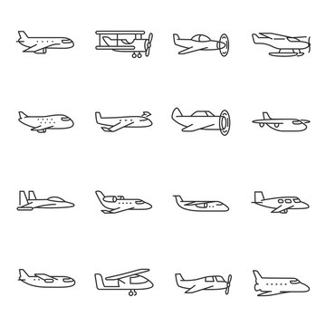 Airplane icon set. Aircraft different types, flight, passenger plane, aviation. Line with editable stroke