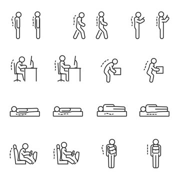 Good posture icon set. Ergonomic. Correct human poses. Line with editable stroke