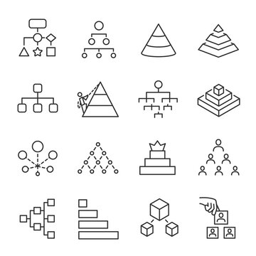 Structure, hierarchy, chart icon set. Line with editable stroke