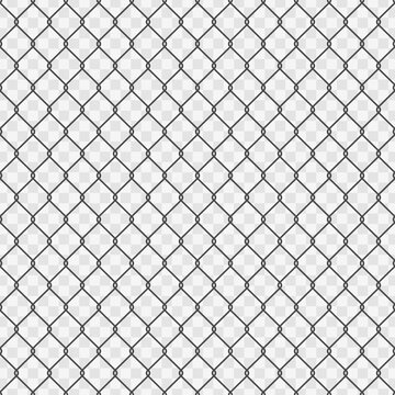 Seamless chain link fence background. Fences made of metal wire mesh on transparent background. Wired Fence pattern in flat style. Mesh-netting. Vector illustration EPS 10.