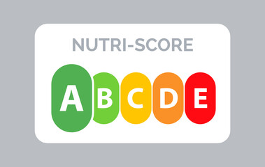 Obraz Nutrition label facts health score. Food info nutriscore label facts packaging sign - fototapety do salonu
