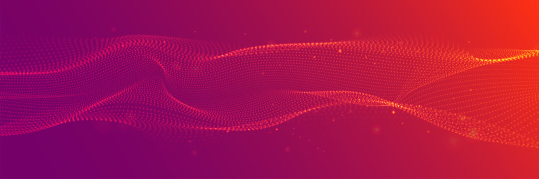 Red wide abstract wavy particle background. Flowing particles with depth of field. Technology, science, gaming, cinema, website vector background.