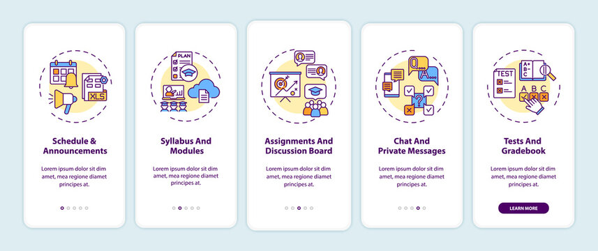Online course management system onboarding mobile app page screen with concepts. Schedule and announcements walkthrough 5 steps graphic instructions. UI vector template with RGB color illustrations