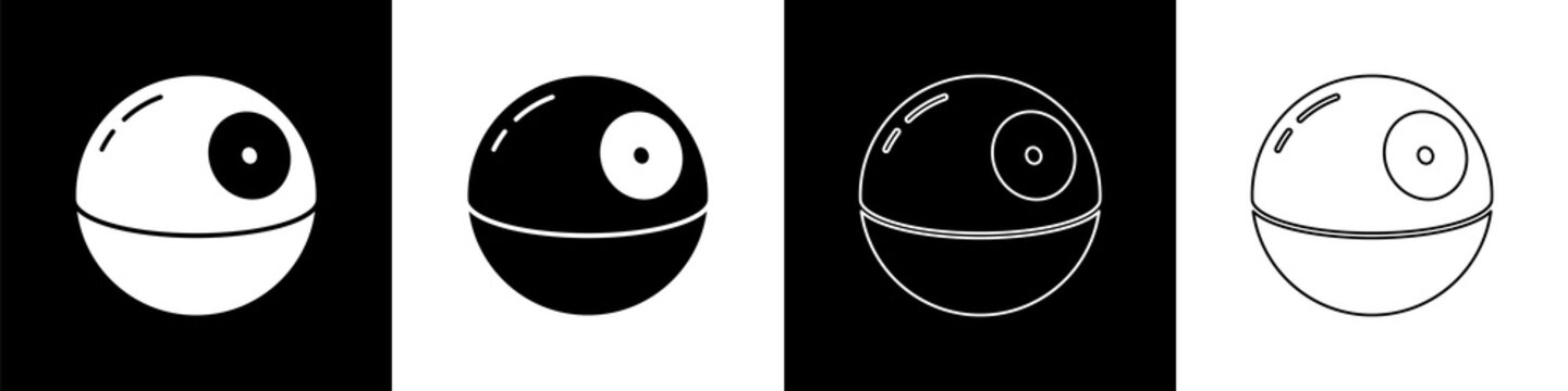 Set Death star icon isolated on black and white background. Vector.