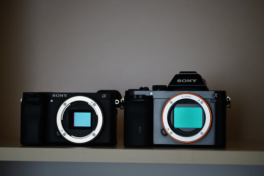 LONDON, UNITED KINGDOM - Jan 10, 2021: Sony A7 and A6400 mirrorless camera on a shelf