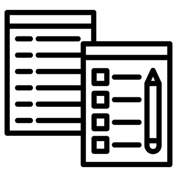 Pencil with bullet paper, checklist icon