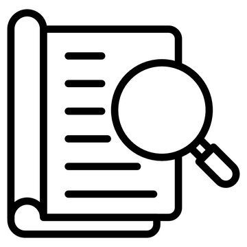 Book under magnifying glass, book analysis icon
