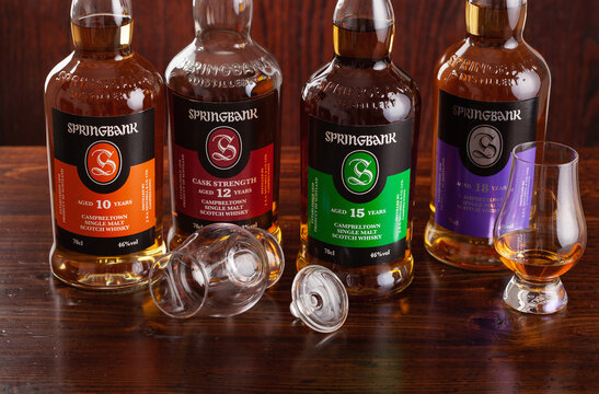 Trondheim, Norway - May 26 2020: Springbank single malt scotch whisky four bottles 10, 15, 12, 18 years