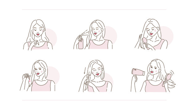 Beauty Girl Take Care of her Damaged Hair and Applying Treatment Products. Hair Oil Serum, Lotion and Spray. Woman Making Haircare Procedures.  Flat Line Vector Illustration and Icons set.