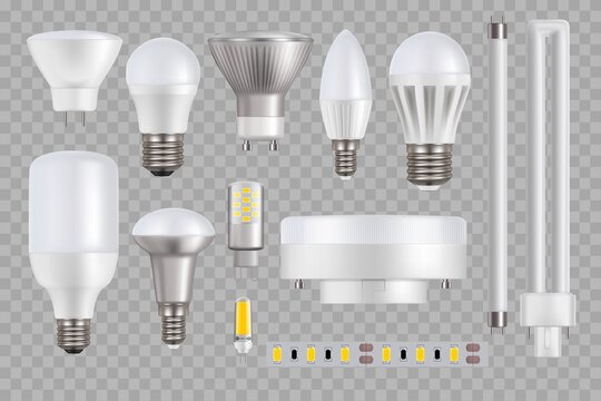 LED light bulb and lamp vector mockups on transparent background. 3d realistic light-emitted diode lightbulbs, tubes, stripe or ribbon, household electrical power device design