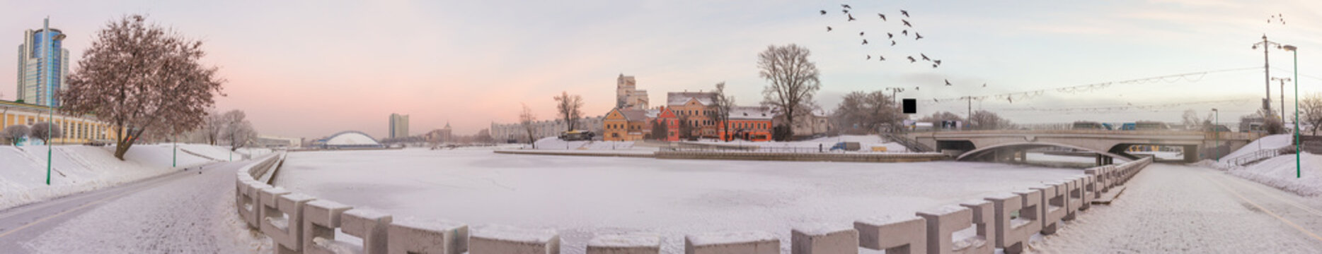 Big panorama of the historical center of Minsk in winter, Belarus