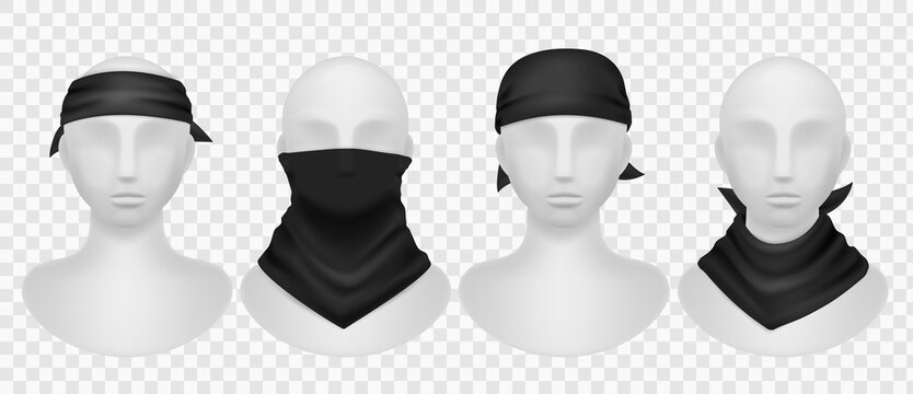 Realistic black bandana. Mannequins mockup with dark kerchief, wearing options buffs, scarves and neck clothes. Modern unisex accessory for head and hair, vector isolated templates set