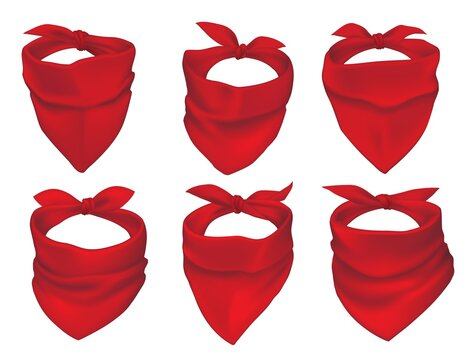Red bandanas, face mask or neck scarfs mockup. Cowboy, bandit or protester masks, biker clothing element. Silk headband tied with knot, neckerchiefs with creases 3d realistic vector set