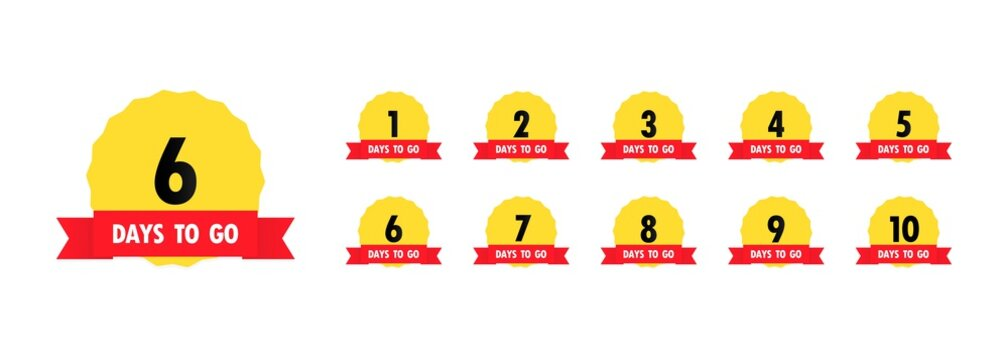 6 days to go icon set. Countdown of days remaining. Offer timer, sticker limited to a few days. Vector EPS 10. Isolated on white background