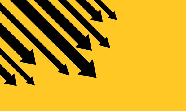 Down arrows banner. Financial crisis, money loss, economy reduction. Business concept. Vector EPS 10. Isolated on background