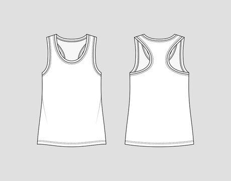 Racer back tank top. Women's sportswear. Activewear t-shirt. Vector technical sketch. Mockup template.