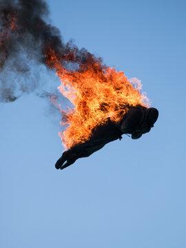 Stuntman on fire.