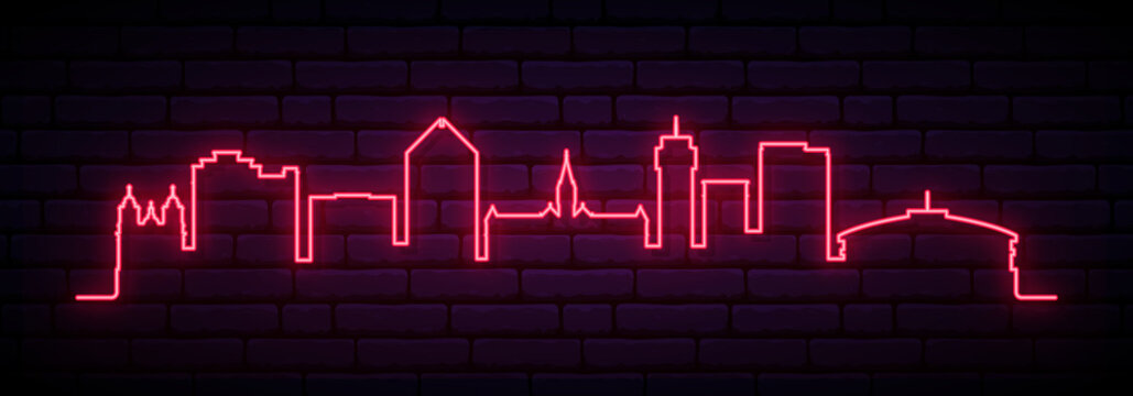 Red neon skyline of Wichita. Bright Wichita City long banner. Vector illustration.