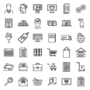 Purchasing manager sell icons set. Outline set of purchasing manager sell vector icons for web design isolated on white background