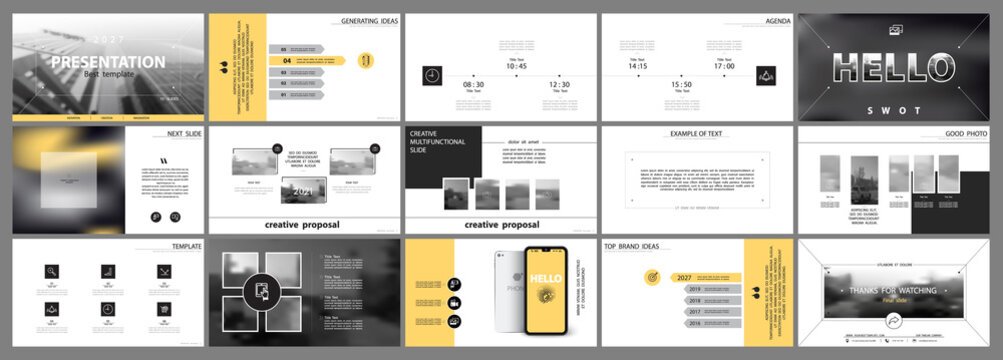 Business presentation template. Vector set, infographic elements, white background. Flyer, postcard, banner advertising marketing.Black and yellow design. Slideshows, brochure, leaflets, annual report