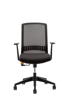 Vertical front view of black office chair isolated on white background
