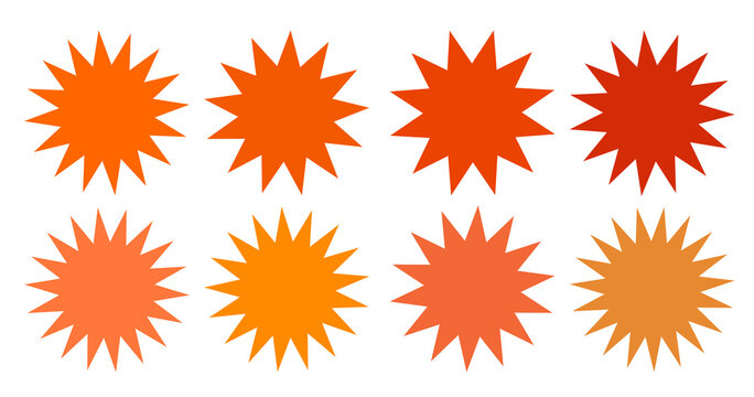Set of vector starburst, sunburst badges. Collection blue different gradient color. Simple style Vintage labels. Design elements. Colored stickers. Vector illustration eps10 of types and colors icon