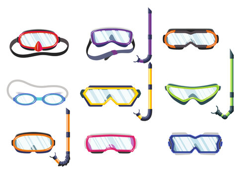Snorkel masks for diving and swimming of different types. Illustration of scuba diving, swimming masks with snorkel and goggles. Realistic diver equipment for summer holidays