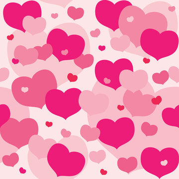 Pink and Red Hearts Seamless Pattern - A repeating pattern of layers of pink and red hearts.