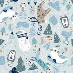 Childish seamless nordic pattern. Creative hand drawn north pole background.  background for fabric, textile, apparel, wallpaper.