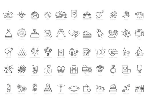 Wedding Vector Line Icon Set