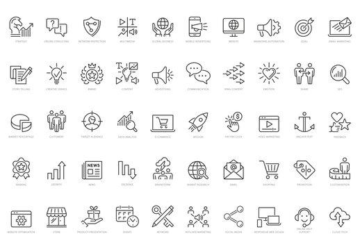 Marketing Vector Line Icon Set